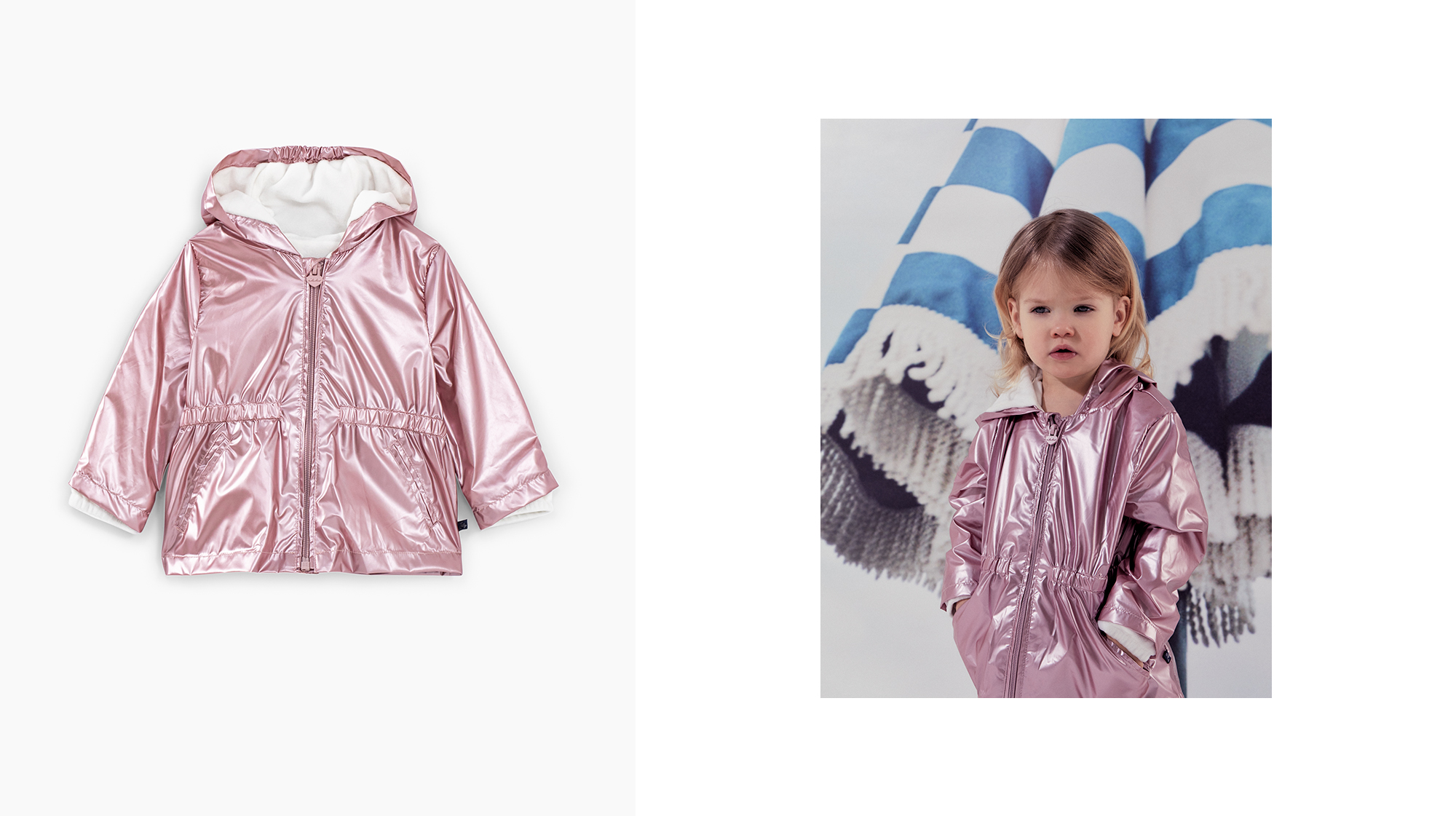 Baby girls' light pink iridescent lined + recycled trench - IKKS Junior